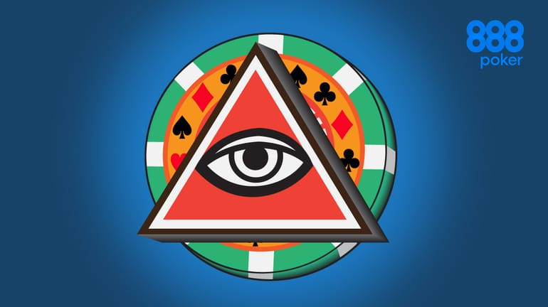 all-seeing eye with a poker chip as the circle behind the triangle
