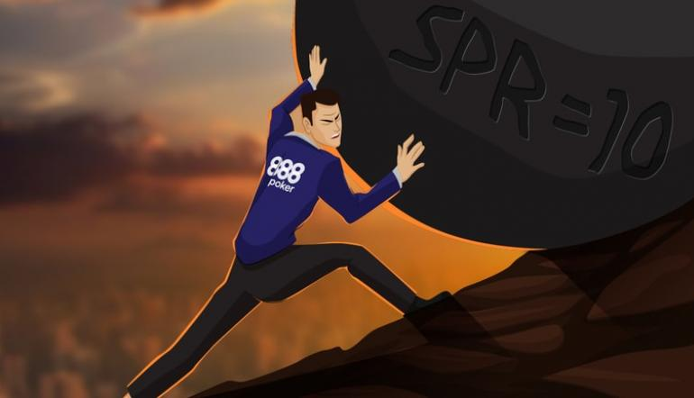 Poker player pushing a boulder uphill with the words SPR 10 on the boulder