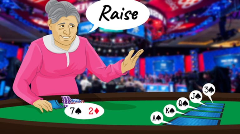granny poker player announcing raise on the river holding 7-2 off-suit on a board reading As-Ks-Qs-10s-3s
